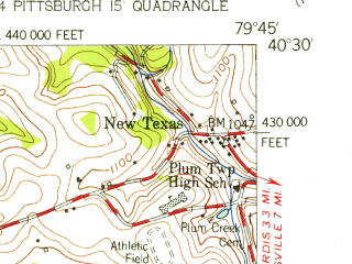 Reduced fragment of topographic map en--usgs--024k--005184--(1953)--N040-30-00_W079-52-30--N040-22-30_W079-45-00; towns and cities Penn Hills, Wilkinsburg, Monroeville, North Versailles, Forest Hills