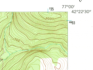 Reduced fragment of topographic map en--usgs--024k--005191--(1953)--N042-22-30_W077-07-30--N042-15-00_W077-00-00