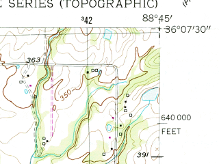Reduced fragment of topographic map en--usgs--024k--005192--(1954)--N036-07-30_W088-52-30--N036-00-00_W088-45-00; towns and cities Bradford