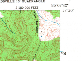 Reduced fragment of topographic map en--usgs--024k--005199--(1952)--N037-30-00_W085-15-00--N037-22-30_W085-07-30; towns and cities Bradfordsville