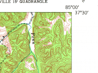 Reduced fragment of topographic map en--usgs--024k--005199--(1953)--N037-30-00_W085-15-00--N037-22-30_W085-07-30; towns and cities Bradfordsville