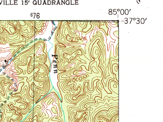Reduced fragment of topographic map en--usgs--024k--005200--(1953)--N037-30-00_W085-07-30--N037-22-30_W085-00-00