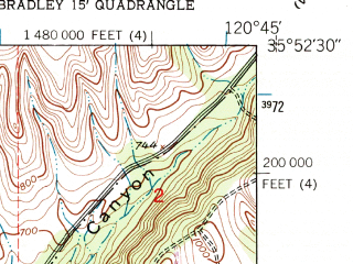 Reduced fragment of topographic map en--usgs--024k--005204--(1949)--N035-52-30_W120-52-30--N035-45-00_W120-45-00