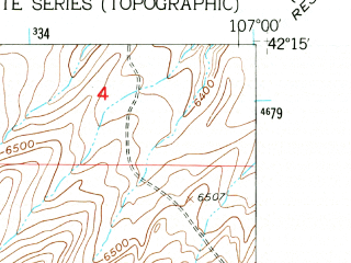 Reduced fragment of topographic map en--usgs--024k--005214--(1953)--N042-15-00_W107-07-30--N042-07-30_W107-00-00