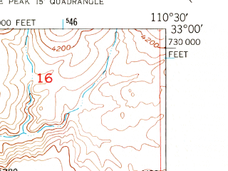 Reduced fragment of topographic map en--usgs--024k--005261--(1949)--N033-00-00_W110-37-30--N032-52-30_W110-30-00