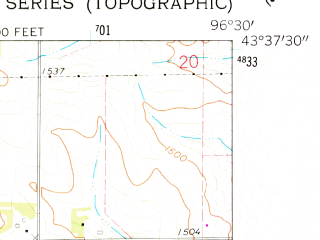 Reduced fragment of topographic map en--usgs--024k--005267--(1962)--N043-37-30_W096-37-30--N043-30-00_W096-30-00; towns and cities Brandon