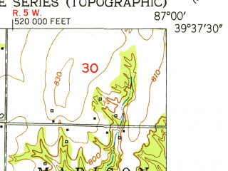 Reduced fragment of topographic map en--usgs--024k--005315--(1950)--N039-37-30_W087-07-30--N039-30-00_W087-00-00; towns and cities Brazil, Carbon, Harmony, Knightsville