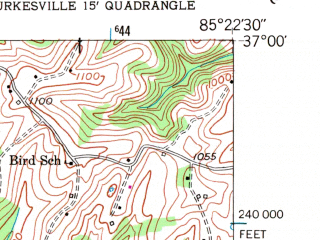 Reduced fragment of topographic map en--usgs--024k--005339--(1953)--N037-00-00_W085-30-00--N036-52-30_W085-22-30