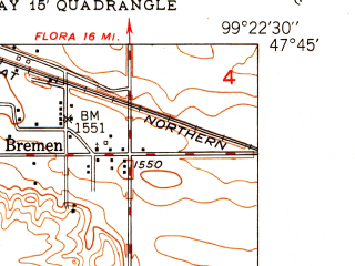 Reduced fragment of topographic map en--usgs--024k--005346--(1949)--N047-45-00_W099-30-00--N047-37-30_W099-22-30