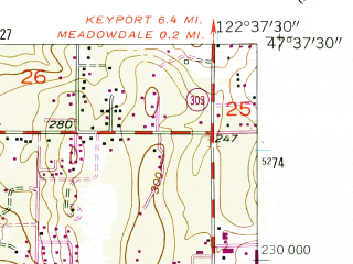 Reduced fragment of topographic map en--usgs--024k--005351--(1953)--N047-37-30_W122-45-00--N047-30-00_W122-37-30; towns and cities Bremerton, East Port Orchard, Tracyton, Kitsap Lake, Navy Yard City