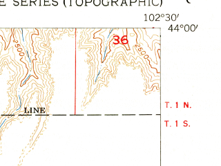 Reduced fragment of topographic map en--usgs--024k--005356--(1954)--N044-00-00_W102-37-30--N043-52-30_W102-30-00