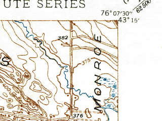 Reduced fragment of topographic map en--usgs--024k--005375--(1940)--N043-15-00_W076-15-00--N043-07-30_W076-07-30; towns and cities North Syracuse, Brewerton