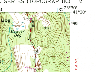 Reduced fragment of topographic map en--usgs--024k--005378--(1958)--N041-30-00_W073-37-30--N041-22-30_W073-30-00 in area of East Branch Reservoir, Bog Brook Reservoir; towns and cities Putnam Lake, Brewster, Brewster Hill