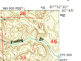 Reduced fragment of topographic map en--usgs--024k--005406--(1953)--N030-45-00_W088-00-00--N030-37-30_W087-52-30; towns and cities Daphne, Spanish Fort
