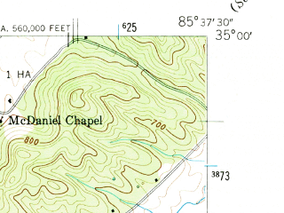 Reduced fragment of topographic map en--usgs--024k--005416--(1945)--N035-00-00_W085-45-00--N034-52-30_W085-37-30; towns and cities Bridgeport