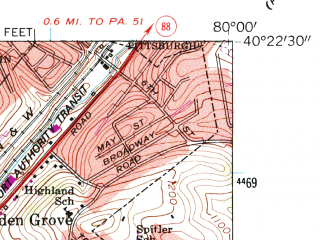 Reduced fragment of topographic map en--usgs--024k--005434--(1960)--N040-22-30_W080-07-30--N040-15-00_W080-00-00; towns and cities Bethel Park, Mount Lebanon, Upper St. Clair, Bridgeville, Castle Shannon