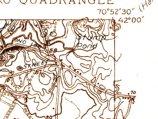 Reduced fragment of topographic map en--usgs--024k--005437--(1937)--N042-00-00_W071-00-00--N041-52-30_W070-52-30; towns and cities Bridgewater, Middleborough Center