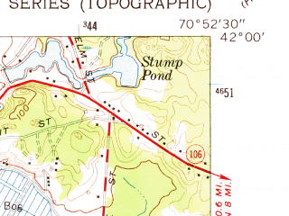 Reduced fragment of topographic map en--usgs--024k--005437--(1962)--N042-00-00_W071-00-00--N041-52-30_W070-52-30; towns and cities Bridgewater, Middleborough Center