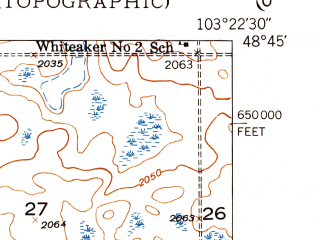 Reduced fragment of topographic map en--usgs--024k--005459--(1948)--N048-45-00_W103-30-00--N048-37-30_W103-22-30