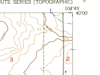 Reduced fragment of topographic map en--usgs--024k--005463--(1957)--N040-00-00_W104-52-30--N039-52-30_W104-45-00; towns and cities Brighton