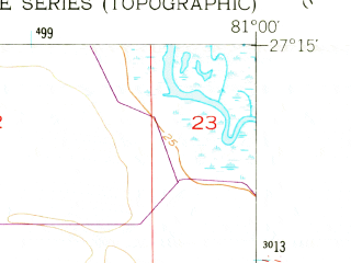 Reduced fragment of topographic map en--usgs--024k--005468--(1953)--N027-15-00_W081-07-30--N027-07-30_W081-00-00