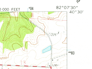 Reduced fragment of topographic map en--usgs--024k--005481--(1961)--N040-30-00_W082-15-00--N040-22-30_W082-07-30; towns and cities Gann