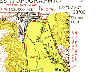 Reduced fragment of topographic map en--usgs--024k--005489--(1947)--N038-00-00_W122-15-00--N037-52-30_W122-07-30 in area of Briones Reservoir; towns and cities Orinda