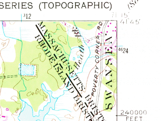 Reduced fragment of topographic map en--usgs--024k--005499--(1955)--N041-45-00_W071-22-30--N041-37-30_W071-15-00; towns and cities Bristol, Barrington
