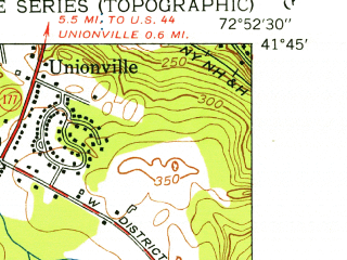 Reduced fragment of topographic map en--usgs--024k--005500--(1953)--N041-45-00_W073-00-00--N041-37-30_W072-52-30; towns and cities Bristol