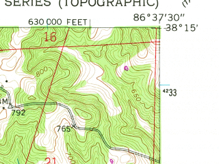 Reduced fragment of topographic map en--usgs--024k--005521--(1957)--N038-15-00_W086-45-00--N038-07-30_W086-37-30