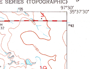 Reduced fragment of topographic map en--usgs--024k--005526--(1951)--N035-37-30_W097-37-30--N035-30-00_W097-30-00 in area of Lake Hefner; towns and cities The Village, Warr Acres, Nichols Hills