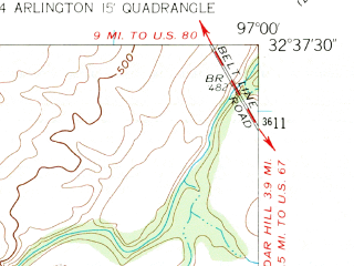 Reduced fragment of topographic map en--usgs--024k--005527--(1959)--N032-37-30_W097-07-30--N032-30-00_W097-00-00; towns and cities Mansfield