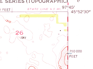 Reduced fragment of topographic map en--usgs--024k--005529--(1956)--N045-52-30_W097-52-30--N045-45-00_W097-45-00