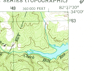 Reduced fragment of topographic map en--usgs--024k--005531--(1955)--N034-00-00_W082-45-00--N033-52-30_W082-37-30