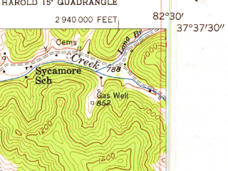 Reduced fragment of topographic map en--usgs--024k--005532--(1954)--N037-37-30_W082-37-30--N037-30-00_W082-30-00; towns and cities Coal Run