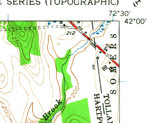 Reduced fragment of topographic map en--usgs--024k--005534--(1953)--N042-00-00_W072-37-30--N041-52-30_W072-30-00; towns and cities Hazardville, Southwood Acres, Thompsonville, Broad Brook