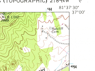 Reduced fragment of topographic map en--usgs--024k--005539--(1958)--N037-00-00_W081-45-00--N036-52-30_W081-37-30