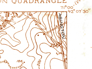 Reduced fragment of topographic map en--usgs--024k--005564--(1936)--N042-07-30_W071-07-30--N042-00-00_W071-00-00; towns and cities Brockton