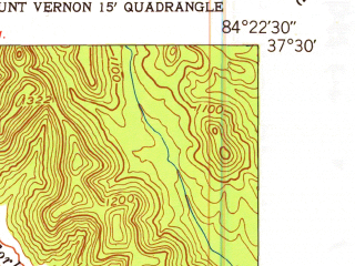Reduced fragment of topographic map en--usgs--024k--005570--(1953)--N037-30-00_W084-30-00--N037-22-30_W084-22-30; towns and cities Brodhead