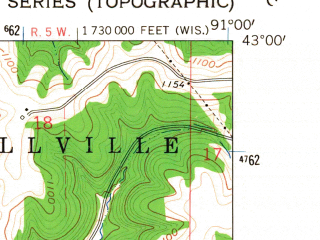 Reduced fragment of topographic map en--usgs--024k--005574--(1962)--N043-00-00_W091-07-30--N042-52-30_W091-00-00; towns and cities Bagley