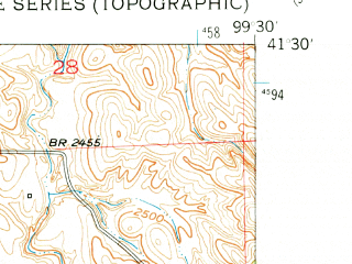 Reduced fragment of topographic map en--usgs--024k--005583--(1951)--N041-30-00_W099-37-30--N041-22-30_W099-30-00