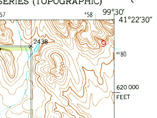 Reduced fragment of topographic map en--usgs--024k--005584--(1951)--N041-22-30_W099-37-30--N041-15-00_W099-30-00; towns and cities Berwyn