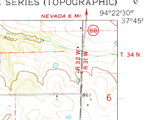 Reduced fragment of topographic map en--usgs--024k--005594--(1962)--N037-45-00_W094-30-00--N037-37-30_W094-22-30; towns and cities Bronaugh