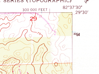 Reduced fragment of topographic map en--usgs--024k--005600--(1954)--N029-30-00_W082-45-00--N029-22-30_W082-37-30; towns and cities Bronson