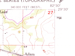 Reduced fragment of topographic map en--usgs--024k--005601--(1955)--N029-30-00_W082-37-30--N029-22-30_W082-30-00