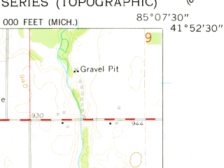 Reduced fragment of topographic map en--usgs--024k--005604--(1960)--N041-52-30_W085-15-00--N041-45-00_W085-07-30; towns and cities Bronson