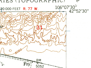 Reduced fragment of topographic map en--usgs--024k--005617--(1949)--N042-52-30_W106-15-00--N042-45-00_W106-07-30
