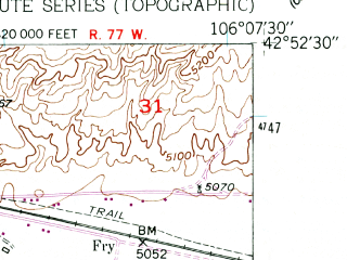 Reduced fragment of topographic map en--usgs--024k--005617--(1961)--N042-52-30_W106-15-00--N042-45-00_W106-07-30