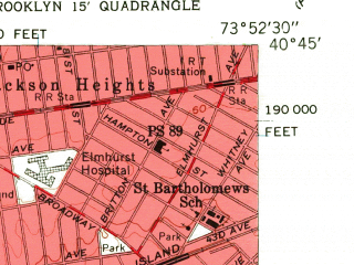 Reduced fragment of topographic map en--usgs--024k--005628--(1956)--N040-45-00_W074-00-00--N040-37-30_W073-52-30; towns and cities New York