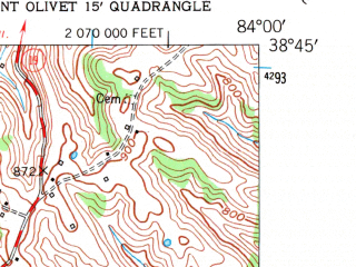 Reduced fragment of topographic map en--usgs--024k--005652--(1952)--N038-45-00_W084-07-30--N038-37-30_W084-00-00; towns and cities Brooksville